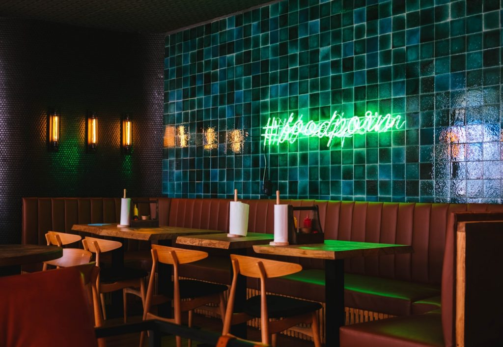 restaurant, bar, neon sign, casual